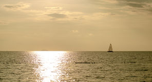 Seascape with yacht in the sea Stock Photos