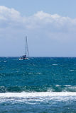 Seascape with yachts on the horizon Royalty Free Stock Image