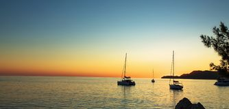 Seascape with Yachts at Sunset Stock Photo