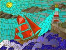 Seascape z żaglówki i latarni morskiej witrażu stylem Fotografia Royalty Free
