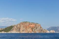 Seascape z Alanya ` s kasztelu skałą Obraz Royalty Free