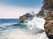 Seascape z dużą fala Zwrotnika denny retro wizerunek z teksta miejscem ilustracji