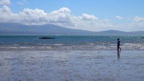 Seascape z parą i górami Obraz Royalty Free
