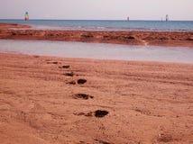 Seascape z windsurfers na piaskowatym wybrzeżu z odciskami stopy w piasku w przedpolu i horyzoncie Obrazy Stock
