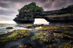 Seascape zmierzchu sceneria przy Batu Bolong plażą, Bali, Indonezja Zdjęcia Stock