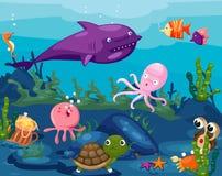 Seascape zwierząt życie podwodny ilustracji