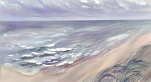 Seascapehorisontalvattenfärgbakgrund Arkivfoton
