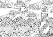 Seascapelinje konstdesign för färgläggningboken för vuxen människa, anti-spänningsfärgläggning - materiel Royaltyfri Bild