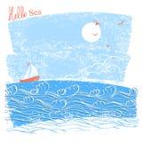 Seascaper azul com navio de navigação Ilustração do vetor do lan do mar ilustração stock