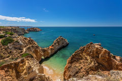 Seascapes Albufeira. In summer, the clear waters. Royalty Free Stock Image
