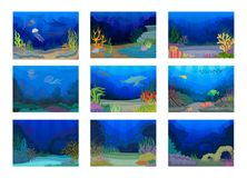 Seascapes collection. Ocean and underwater world. Vector illustration. Seascapes collection. Ocean and underwater world with different inhabitants. Vector flat stock illustration