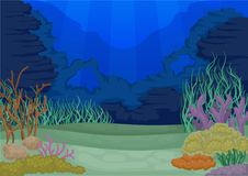 Seascapes concept. Marine life landscape. Vector illustration. Seascapes collection. Marine life landscape. Ocean and underwater world. Coral reefs and sea vector illustration