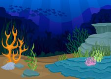 Seascapes concept. oral reef and school of fish. Seascapes concept. Ocean and underwater world with different inhabitants. oral reef and school of fish on blue stock illustration