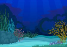 Seascapes concept. Underwater world. Vector flat illustration. Seascapes collection. Underwater world. Marine life landscape. Coral reefs and ocean caves royalty free illustration