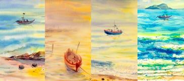 Seascapes da pintura da aquarela na época diferente do ano ilustração royalty free