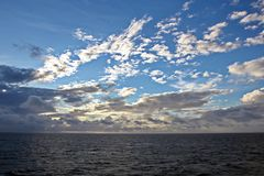 Seascapes. Various Kinds Of Colorful Blue Sky, Sun, Clouds And Open Spaces Of The World Ocean. Royalty Free Stock Photo