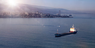 Seascapesoluppgång i Jounieh, Libanon Arkivfoton
