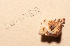 Seashell и литерность лета нарисованная на песке пляжа Стоковое Фото