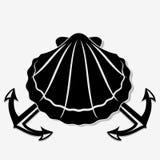 Seashell, моллюск и пересеченные морские анкеры иллюстрация вектора