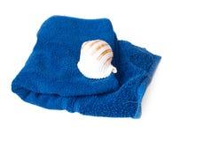 seashell błękitny ręcznik Zdjęcia Royalty Free