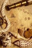 Seashell, corde et télescope image stock