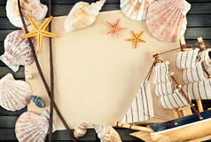 Seashell frame. Royalty Free Stock Image