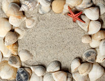 Seashell Frame In Sand Royalty Free Stock Photography