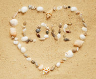 Seashell heart Stock Photography