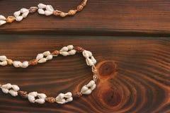 Seashell kolia na drewnianym tle zdjęcia royalty free