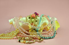 Seashell with luxury pearls and jewelry Royalty Free Stock Photos