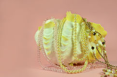 Seashell with luxury pearls and various jewelry Stock Images