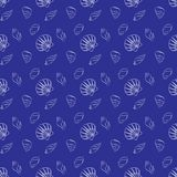 Seashell marine pattern in navy blue and white. Vector seamless pattern with seashells. Naval background for website, packaging, digital scrapbooking, wallpapers Stock Photos