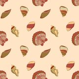 Seashell marine pattern in neutral colors. Vector seamless pattern with seashells. Naval background for website, packaging, digital scrapbooking, wallpapers Royalty Free Stock Photos