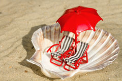Seashell with miniature deck-chairs Stock Image