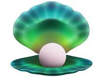 Seashell mit einer Birne Stockfotografie
