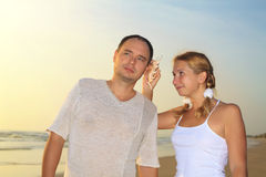 Seashell music Stock Photos