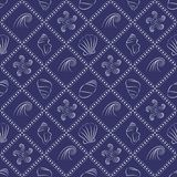 Seashell nautical pattern in navy blue and white. Seamless pattern with seashells and waves outlines Stock Photos