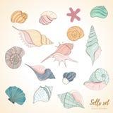Seashell paradise holiday marine set vector illustration