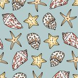 Seashell pattern on neutral background. Seamless illustrations of simple drawn seashells. royalty free illustration