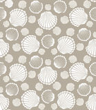Seashell pattern. Seamless scallop seashell of mollusks pattern vector illustration Royalty Free Stock Photos