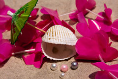 Seashell, Pearls, Umbrella And A Lei Stock Photography