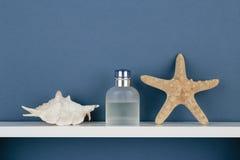 Seashell and perfume on white  shelf on blue wallpaper Stock Image