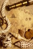 Seashell, rope and telescope Stock Image
