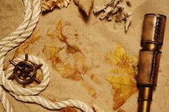 Seashell, rope and telescope Royalty Free Stock Photo