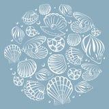 Seashell round design element. Sea background Royalty Free Stock Photography