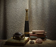 Seashell`s in interior scene with turtle, books and telescope concept photo Royalty Free Stock Images