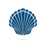 Seashell. Scallop seashell of mollusks icon sign isolated vector illustration Royalty Free Stock Photo