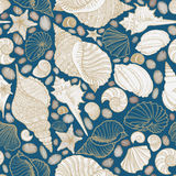 Seashell seamless pattern. Summer holiday marine background Royalty Free Stock Photos