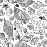 Seashell seamless pattern. Summer holiday marine background Royalty Free Stock Images