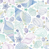 Seashell seamless pattern. Summer holiday marine underwater background. Royalty Free Stock Photos
